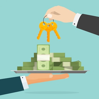 Sleutels tot succes of handen geven geld en sleutel platte cartoon