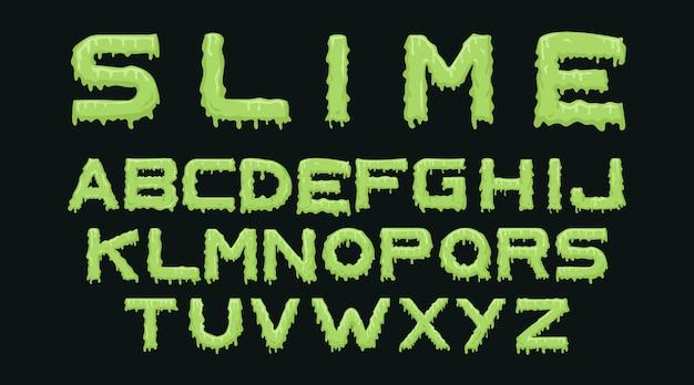 Slijm alfabet typografie set