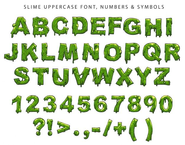 Slijm hoofdlettertype, cijfers en symbolen