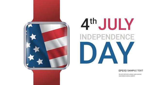 Slim horloge met de amerikaanse vlag van de verenigde staten, viering van de onafhankelijkheidsdag, 4 juli-kaart