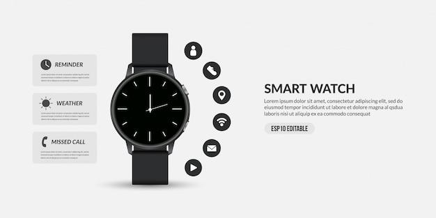Slim horloge voor zakelijke communicatie, weergave van verschillende functies en pictogrammen van apps