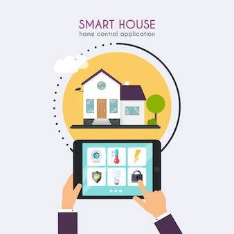 Slim huis. home bedieningsapplicatie concept. de tablet van de handholding met de toepassing van de huiscontrole. technologisch systeem met centrale besturing.