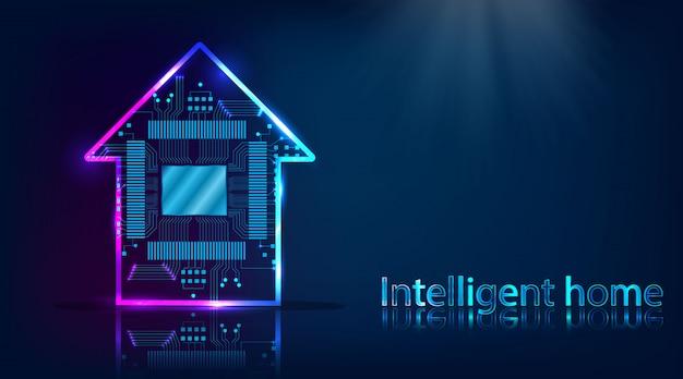 Slim huis. huistechnologiesysteem met draadloze centrale controleachtergrond