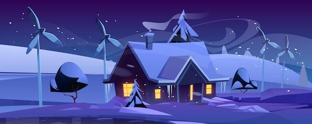 Slim huis met windturbines op winternacht, milieuvriendelijk huis in besneeuwd bos