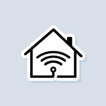 Slim huislogo. slimme huisje. domotica. het concept van een thuissysteem met draadloze centrale bediening. vector op geïsoleerde achtergrond. eps-10.