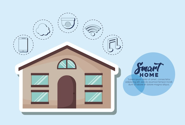 Slim huisontwerp met rond modern huis en verwante pictogrammen
