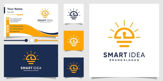 Slim idee-logo met creatief uniek concept premium vector