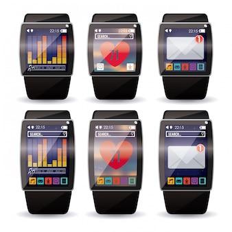 Slim polshorloge of smartwatch set.