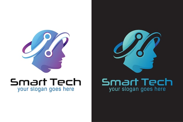 Slim tech-logo, menselijke technologie of menselijk digitaal, robottechnologie-logo-ontwerp