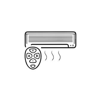 Slimme airconditioner met afstandsbediening hand getrokken schets doodle pictogram. smart home, klimaatbeheersingsconcept