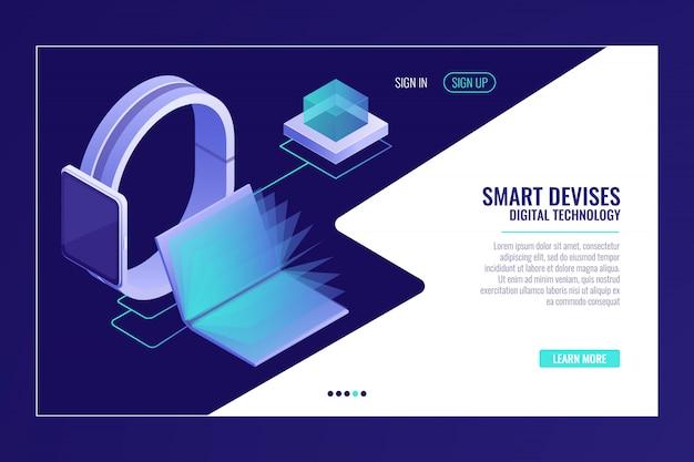 Slimme apparaten, informatiemobiliteit, smartwatch met open elektronisch boek