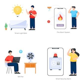Slimme apps en gadgets platte illustraties