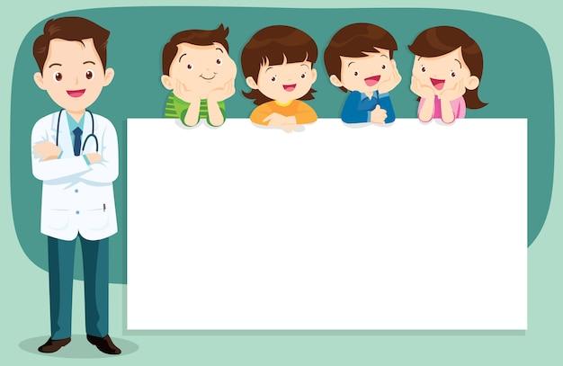 Slimme arts en schattige kinderen met banner