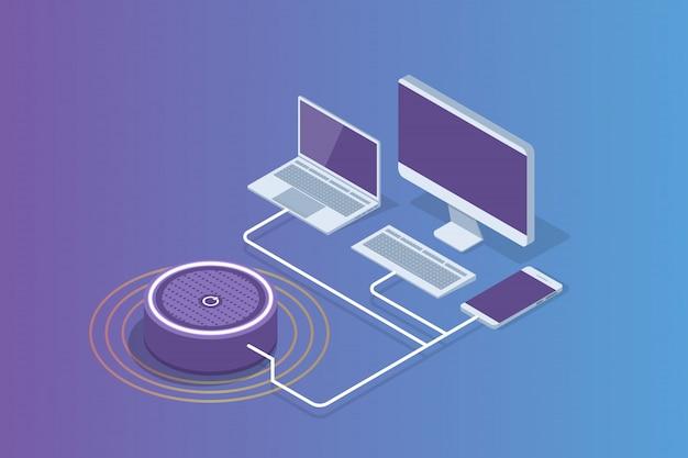 Slimme assistent-luidspreker, stembesturing isometrisch concept. illustratie