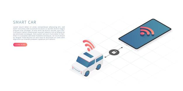 Slimme auto technologie concept vector isometrische illustratie met auto en smartphone