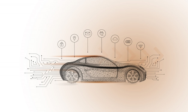 Slimme auto vector concept. elektrische auto