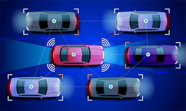 Slimme autoconcept autonoom zelfrijdend voertuig op de illustratie van de stadsweg
