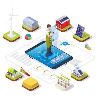 Slimme biologische landbouw vector isometrische infographic boer die boerderij beheert met behulp van mobiele app iot drones ...