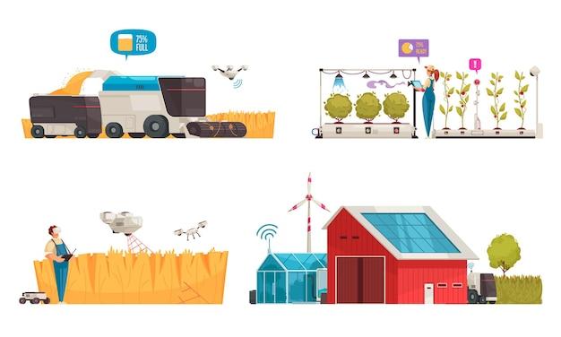 Slimme boerderij met geïsoleerde composities van geautomatiseerde voertuigen voor illustratie van schone energie