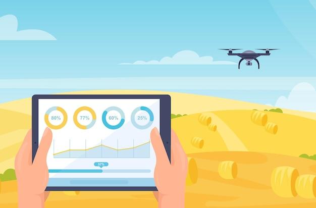 Slimme boerderij mobiele technologie illustratie