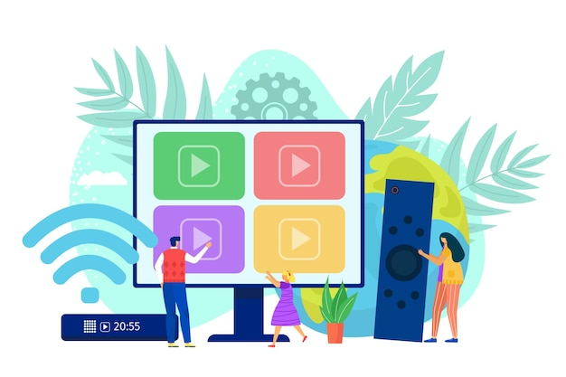 Slimme computer tv door internet digitale media illustratie