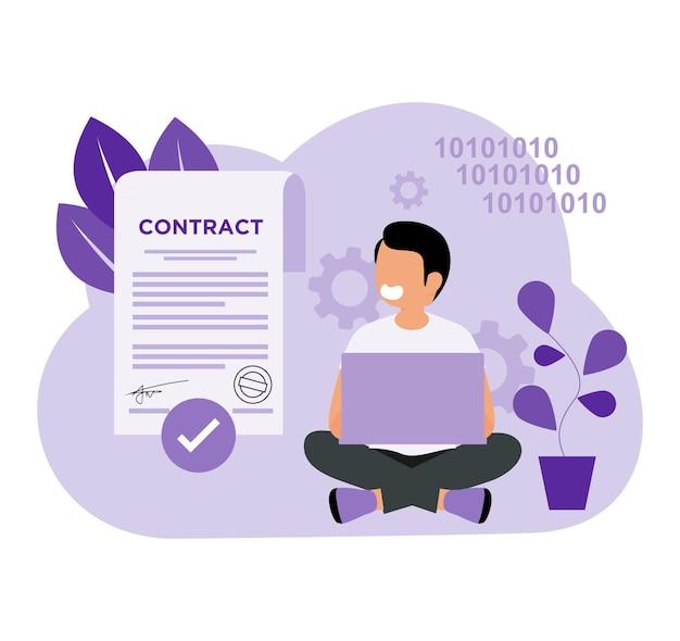 Slimme contractcoderingsdeals in plat concept