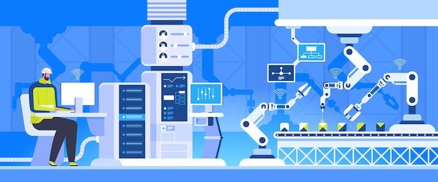 Slimme fabriek ingenieur aan het werk met computer productieprocesinnovatie industrie 4.0-concept
