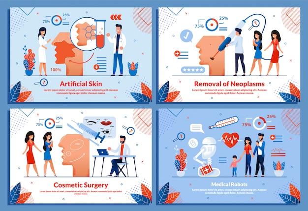 Slimme geneeskunde kunstmatige cosmetologie illustratie set