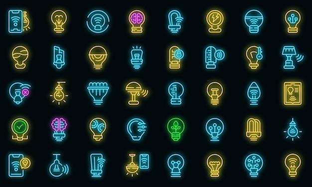 Slimme gloeilamp pictogrammen instellen vector neon