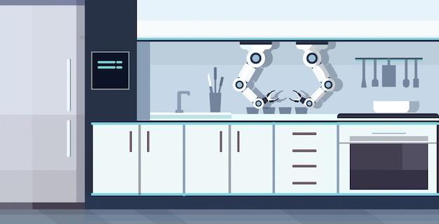 Slimme handige chef-kok robot assistent automatisering robot innovatie technologie kunstmatige intelligentie concept moderne keuken interieur horizontaal