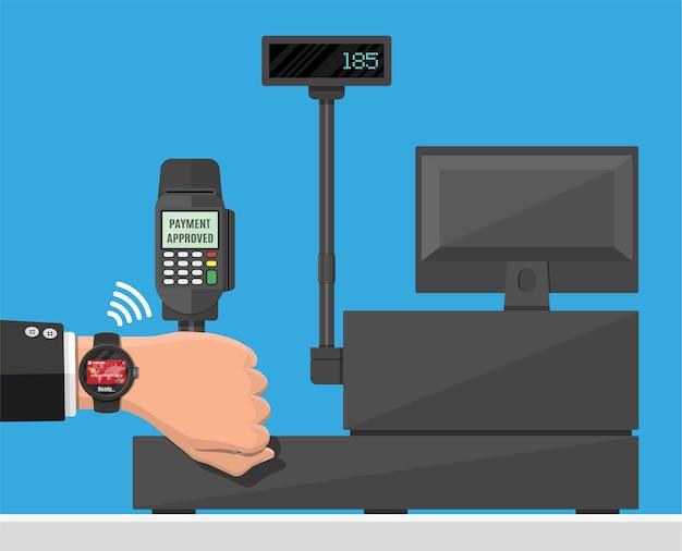 Slimme horloge contactloze betalingen illustratie in vlakke stijl
