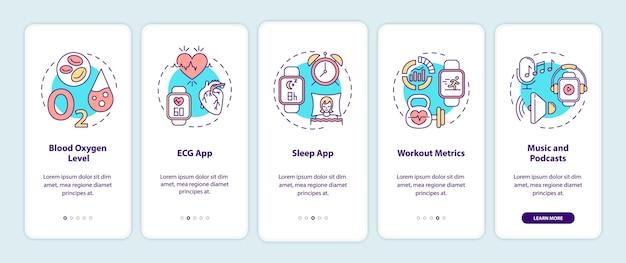 Slimme horloge-functies onboarding mobiele app-paginascherm met concepten.