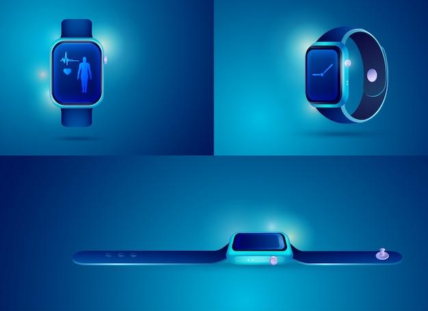 Slimme horloge in verschillende weergave voor decoratie