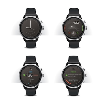 Slimme horloge met digitale weergave instellen vectorillustratie