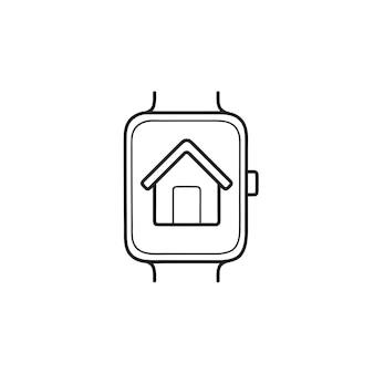 Slimme horloge met huis hand getrokken schets doodle pictogram. slim huis, slim horloge, digitaal apparaatconcept
