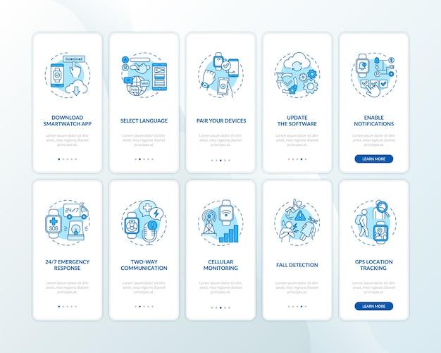 Slimme horloge setup adviezen onboarding mobiele app pagina scherm met concepten ingesteld