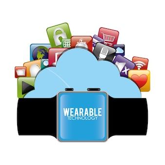 Slimme horloge wearable technologie cloud virtueel