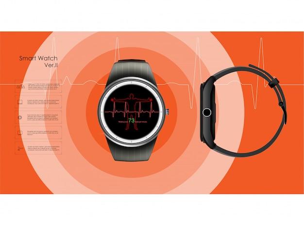 Slimme horloges die de parameters van slaap en rust, gezondheid en hartslag controleren. illustratie