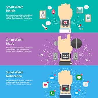 Slimme horlogetoepassingen banners ontwerpen in platte ontwerpstijl