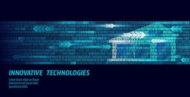 Slimme huis binaire code stroom concept. analyse van online controle-informatie. internet of things technologie domoticasysteem. blauwe gloeiende aantal grote gegevens controle illustratie banner