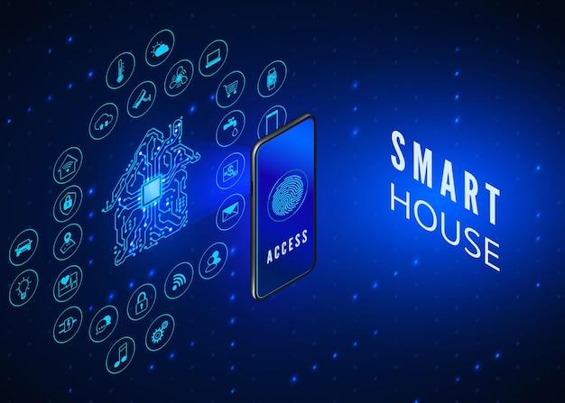 Slimme huis concept. mobiele telefoon bewaakt en bestuurt alle slimme systemen in huis.