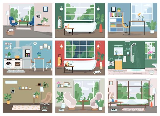 Slimme huis egale kleurenset. geautomatiseerde keuken, badkamer en woonkamer 2d cartoon interieur.