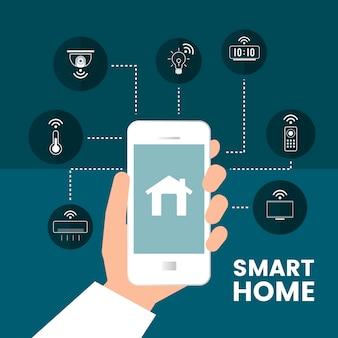 Slimme huis gecontroleerd door telefoon infographic vector