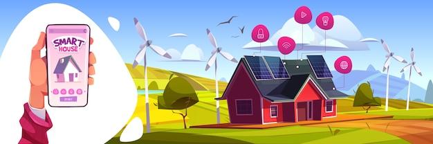 Slimme huis kunstmatige intelligentie technologie concept. smartphone in de hand met app voor het bedienen van huishoudelijke apparaten. internet of things-toepassingsservices, groene energie cartoon afbeelding
