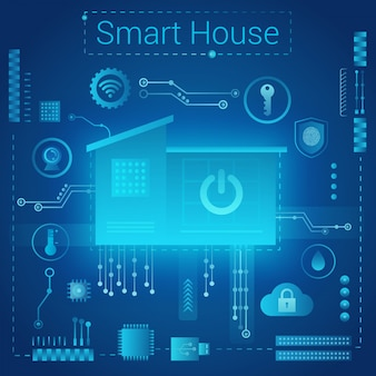 Slimme huis moderne absract lichte stijl concept. slimme woning op de futuristische achtergrond van microchiproutes. internet of things iot-technologie.