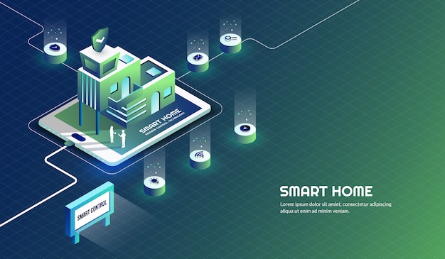 Slimme huis moderne technologiecontrole en veiligheidsachtergrond
