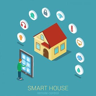 Slimme huis op afstand moderne technologie bedieningsconcept man touch tablet beheren indicator bewakingscamera temperatuur klimaat vochtigheid water plat isometrisch.