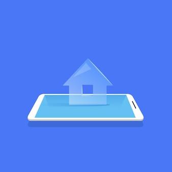 Slimme huis pictogram mobile home control applicatie blauwe achtergrond platte vectorillustratie