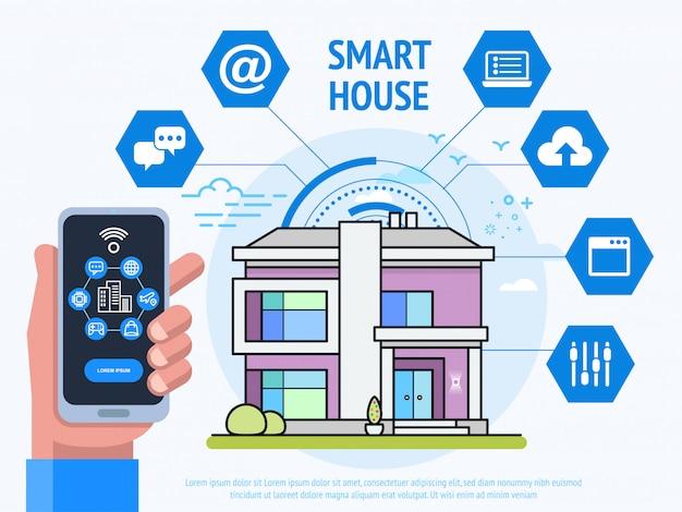 Slimme huis technologie concept. menselijke hand met telefoon met besturingssysteem app.