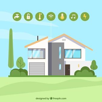 Slimme huisachtergrond in vlakke stijl